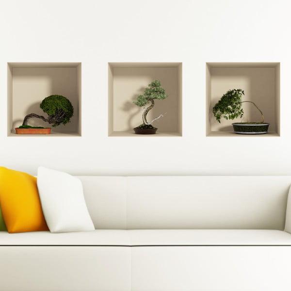 Zestaw 3 naklejek na ścianę 3D Fanastick Bonsais
