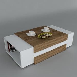 Stolik kawowy Nora White/Walnut, 61x110x31 cm