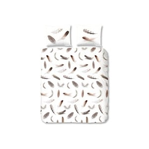 Biała pościel flanelowa Müller Textiel Feathers, 140x200 cm