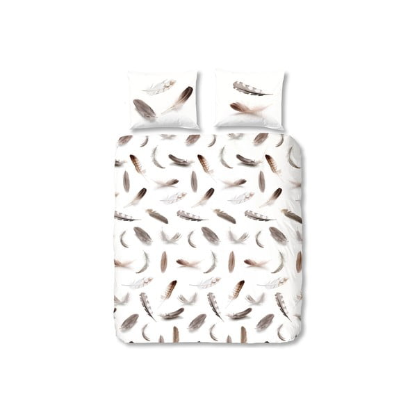 Biała pościel flanelowa Muller Textiel Feathers, 240x200 cm