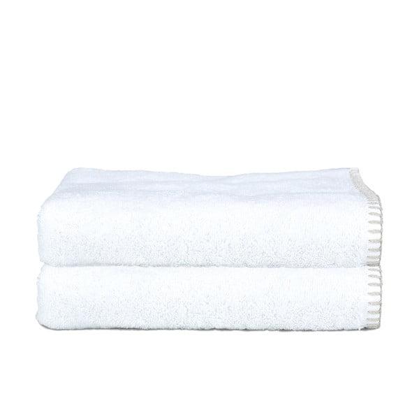 Zestaw 2 ręczników Whyte 100x150 cm, biało-beżowy