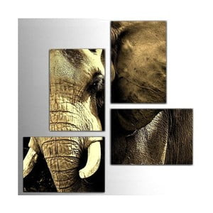 Czteroczęściowy obraz Elephant, 76x76 cm