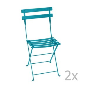 Zestaw 2 turkusowych krzeseł składanych Fermob Bistro
