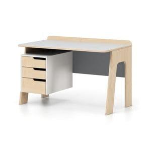 Szaro-białe biurko z szufladami Devoto Nimbo