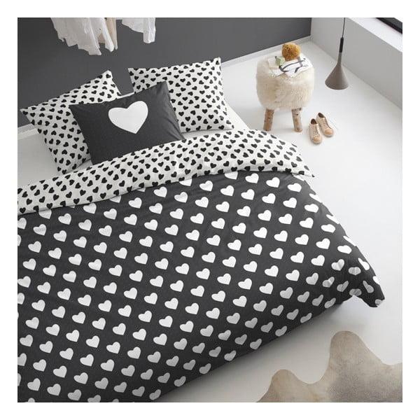 Pościel  Hearts 240x200 cm, czarna