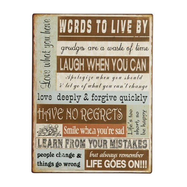 Tablica Words to live by, 26x35 cm