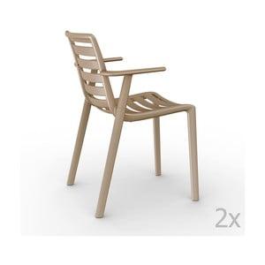 Zestaw 2 beżowych krzeseł ogrodowych z podłokietnikami Resol Slatkat
