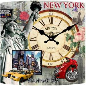 Szklany zegar New York, 34x34 cm