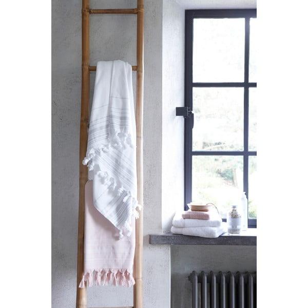 Różowy ręcznik hammam Walra, 100x180cm