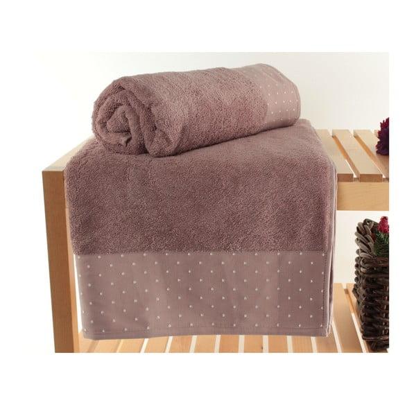 Komplet 2 różowoszarych ręczników Patricik Dusty, 90x150 cm
