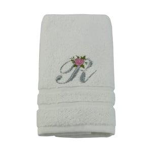 Ręcznik z inicjałem i różyczką R, 50x90 cm
