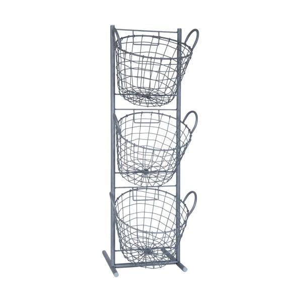 Zestaw 3 koszyków na stojaku Clayre & Eef