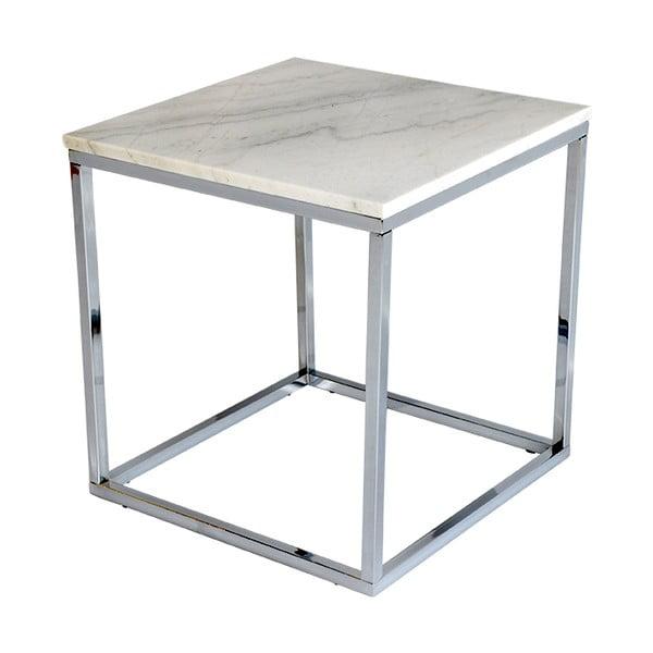 Biały stolik marmurowy z chromowaną konstrukcją RGE Accent, szer.50cm