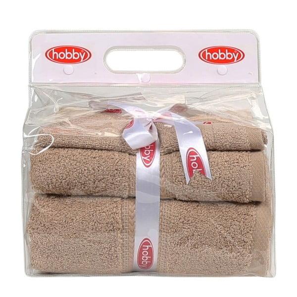 Zestaw 3 beżowych ręczników Rainbow