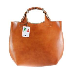 Karmelowa torba skórzana Chicca Borse Sofia
