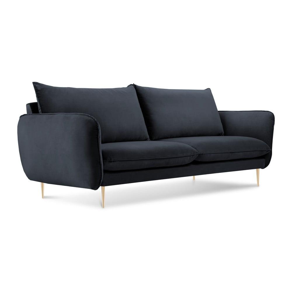 Antracytowa aksamitna sofa Cosmopolitan Design Florence, 160 cm