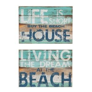 Zestaw 2 dekoracji ściennych J-Line Beach Living