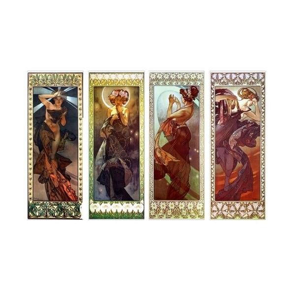 """Zestaw 4 obrazów """"The Moon and Stars"""" (Alfons Mucha), 45x120 cm"""