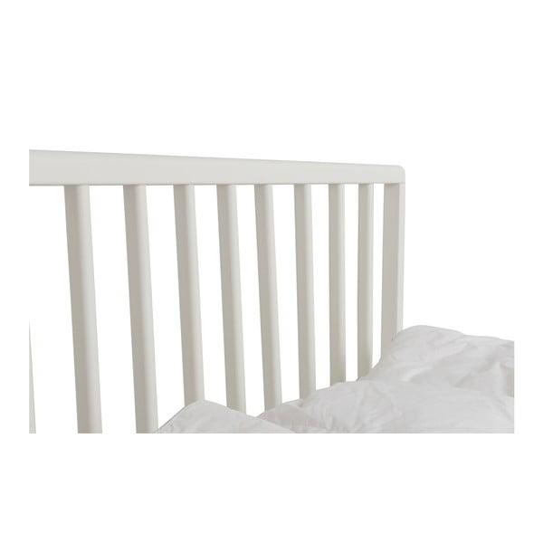 Białe łóżko wykonane ręcznie z litego drewna brzozowego Kiteen Melodia, 160x200cm