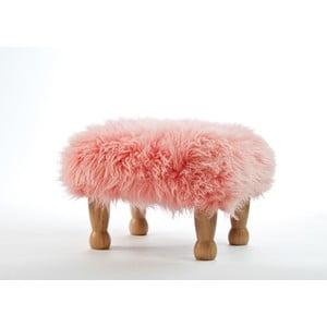 Podnóżek z owczej skóry Angharad Baby Pink