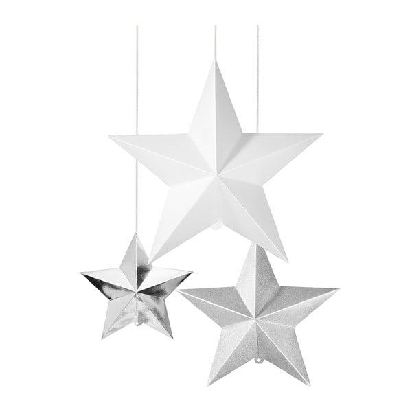 Papierowa dekoracja 3D Hanging Stars Silver, 3 szt.