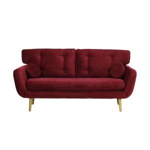 Ciemnoczerwona   sofa trzyosobowa Wintech Alva Faro