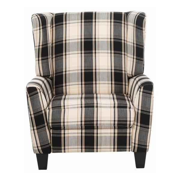 Czarny fotel rozkładany w kratkę Støraa Aladdin