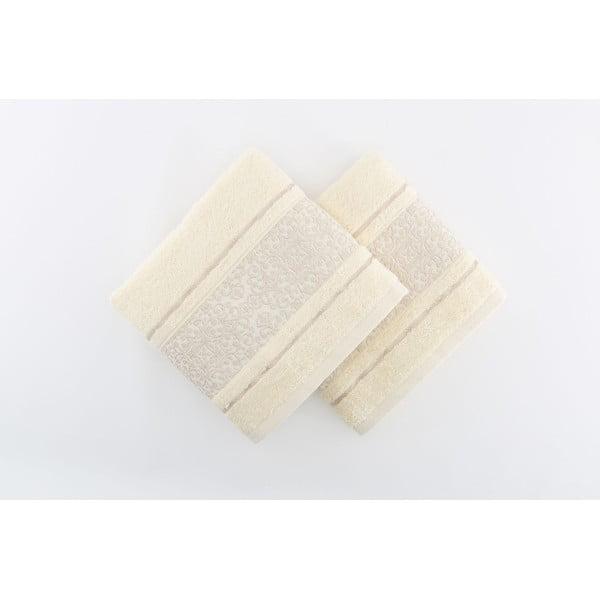 Zestaw 2 kremowych ręczników Giselle, 70x140 cm