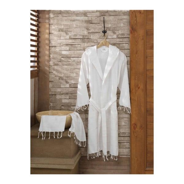Komplet szlafroka i ręcznika Sultan White, rozmiar S/M