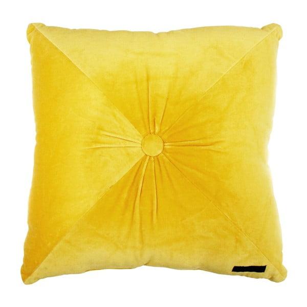 Żółta poduszka Ragged Rose Fiona Velvet