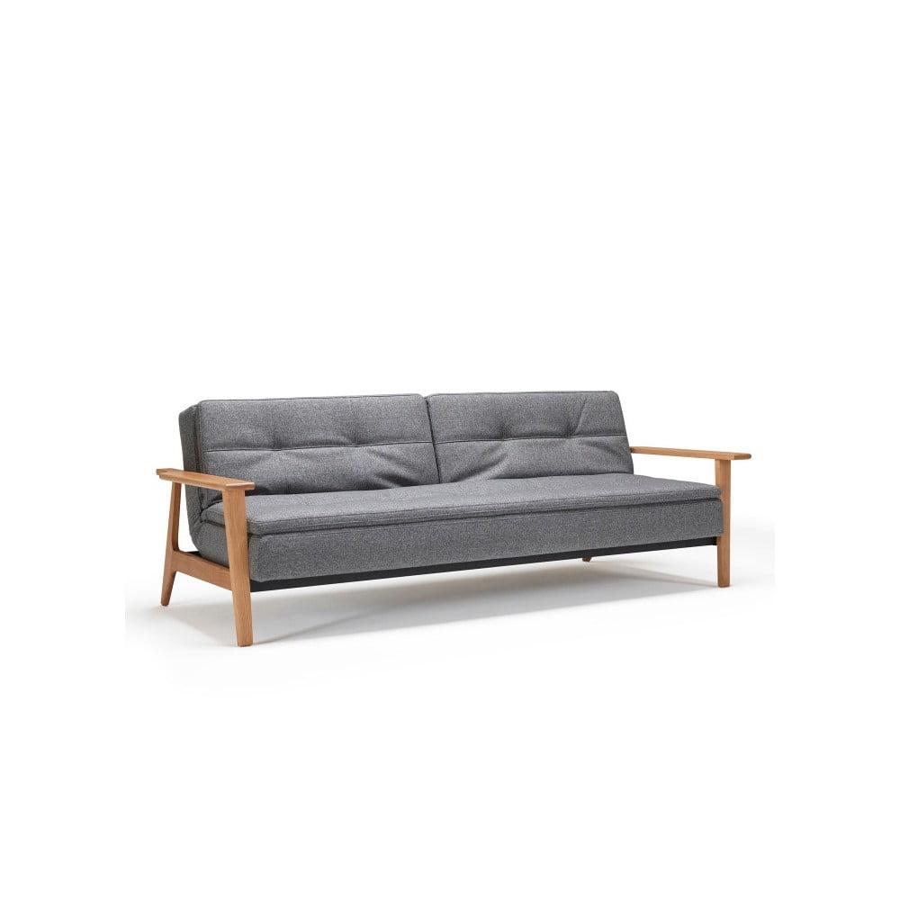 Ciemnoszara rozkładana sofa Innovation Dublexo Frej Twist Charcoal, 90x234 cm