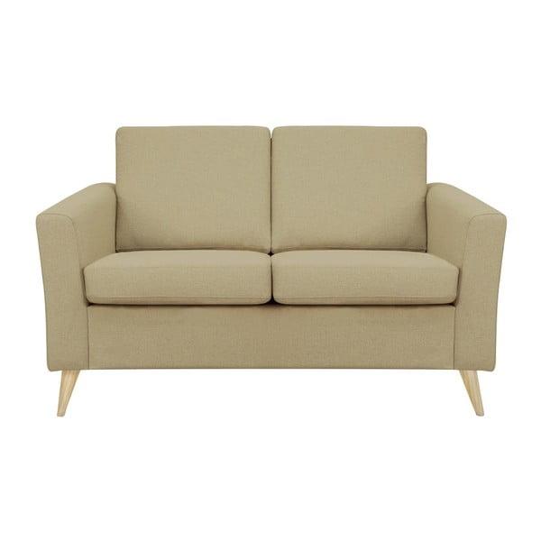 Ciemnobeżowa sofa 2-osobowa z naturalnymi nogami Helga Interiors Alex