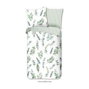 Zielono-biała bawełniana pościel jednoosobowa Good Morning Greno, 140x200 cm
