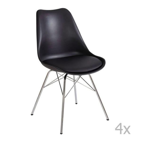 Zestaw 4 czarnych krzeseł 13Casa Brigitte