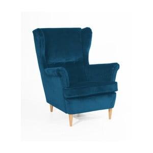 Niebieski fotel z jasnobrązowymi nogami Max Winzer Clint Suede