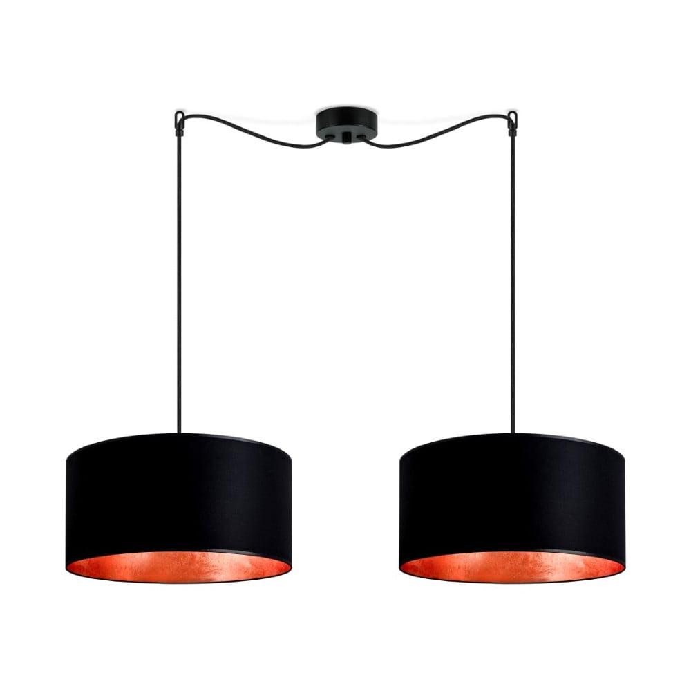 Czarna podwójna lampa wisząca z wnętrzem w miedzianej barwie Sotto Luce Mika