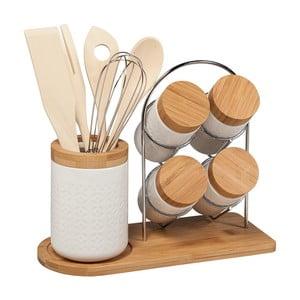 Komplet 4 pojemników na przyprawy i bambusowych przyborów kuchennych Tarro