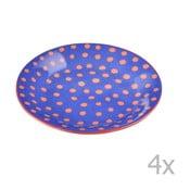 Komplet 4 talerzyków porcelanowych w groszki Oilily 10 cm, niebieski