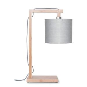 Lampa stołowa z jasnoszarym kloszem i konstrukcją z bambusa Good&Mojo Himalaya