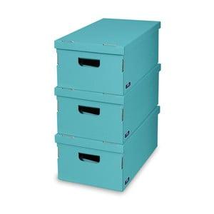 Zestaw 3 turkusowych pudełek Domopak