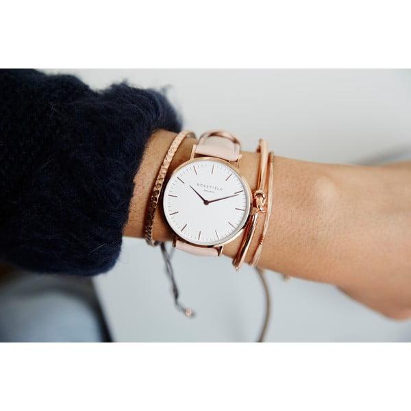 Biało-różowy zegarek damski Rosefield The Bowery
