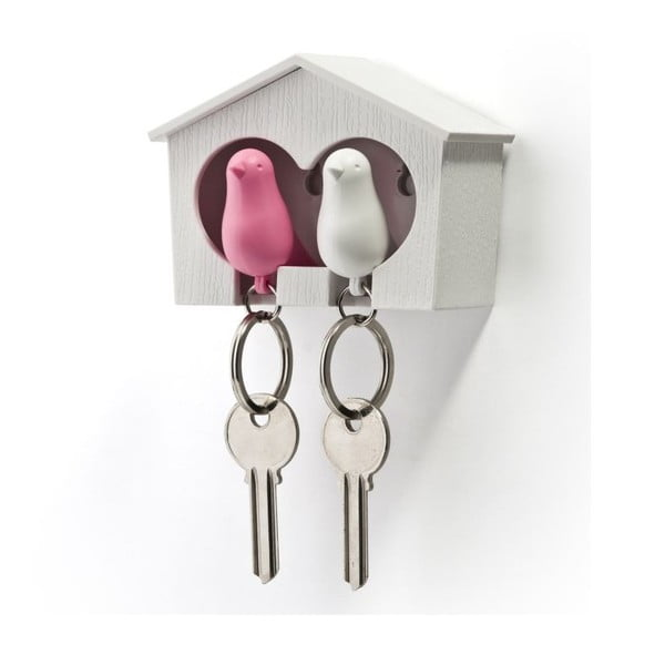 Budka z zawieszkami na klucze QUALY Duo Sparrow, biała/różowa