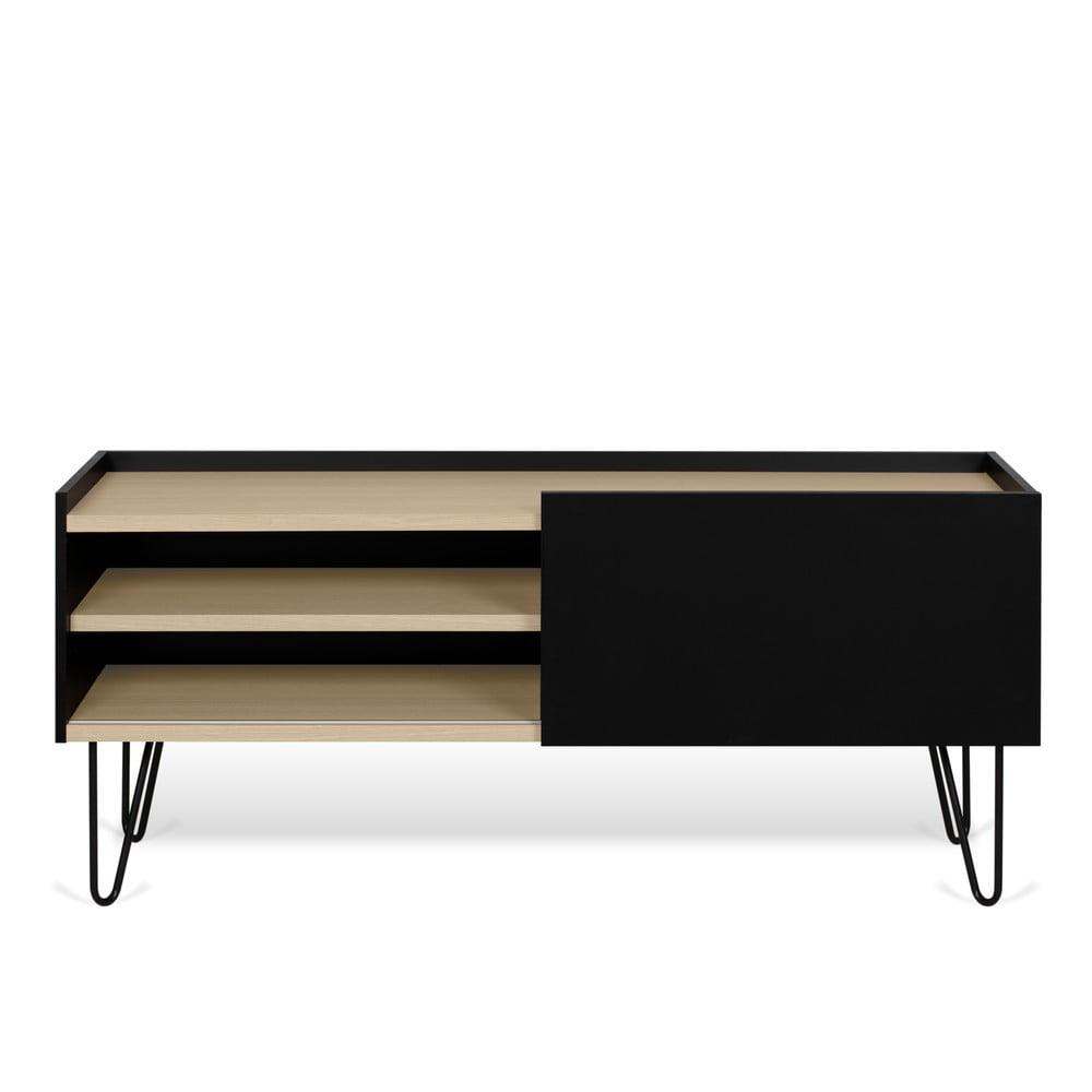 Czarna komoda z półkami i drzwiczkami TemaHome Nina, 140x59 cm