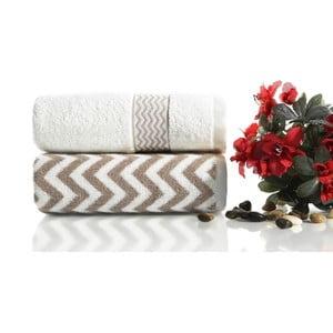Komplet 2 brązowo-białych ręczników bawełnianych Ladik Ella, 50x90 cm