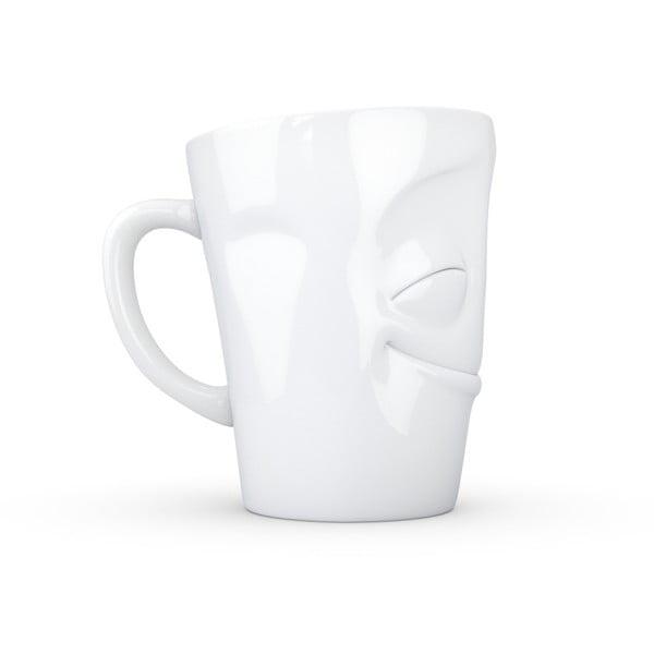 Biały zadowolony porcelanowy kubek z uchem 58products, 350 ml