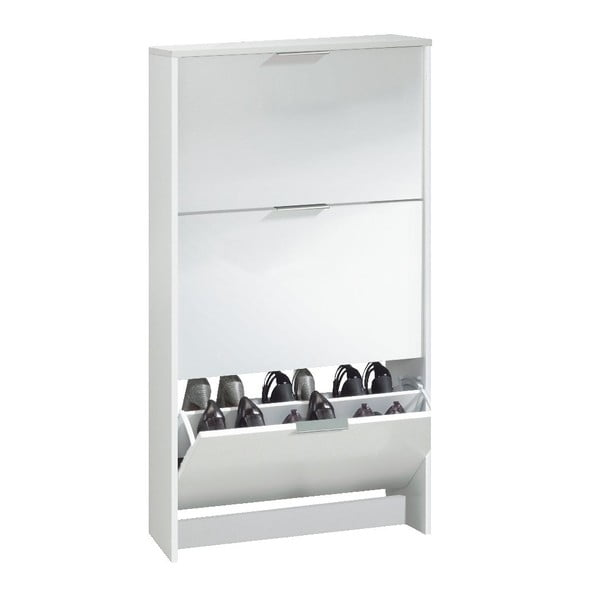Biała szafka na buty z 3 uchylnymi drzwiami 13Casa Eco