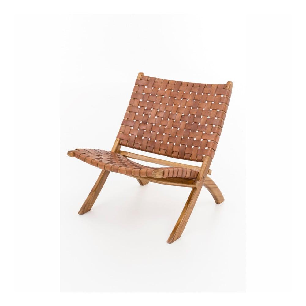 Składany fotel z drewna tekowego i skóry wołowej WOOX LIVING Ruth