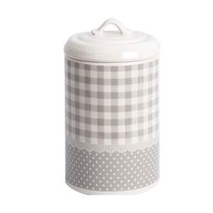 Pojemnik ceramiczny Grey Dots&Checks, 21 cm