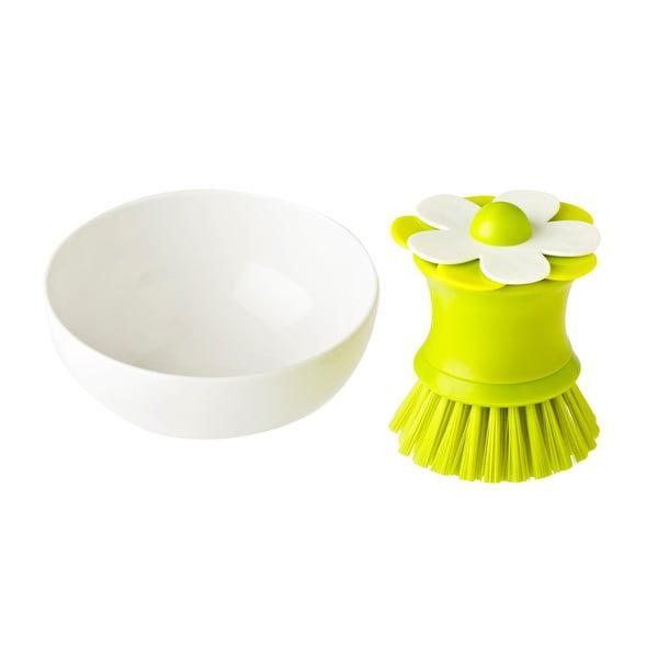 Szczotka do mycia naczyń z naczyniem Green Flower