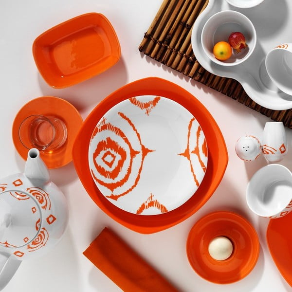 Komplet porcelany Breakfast Orange, 43 szt.